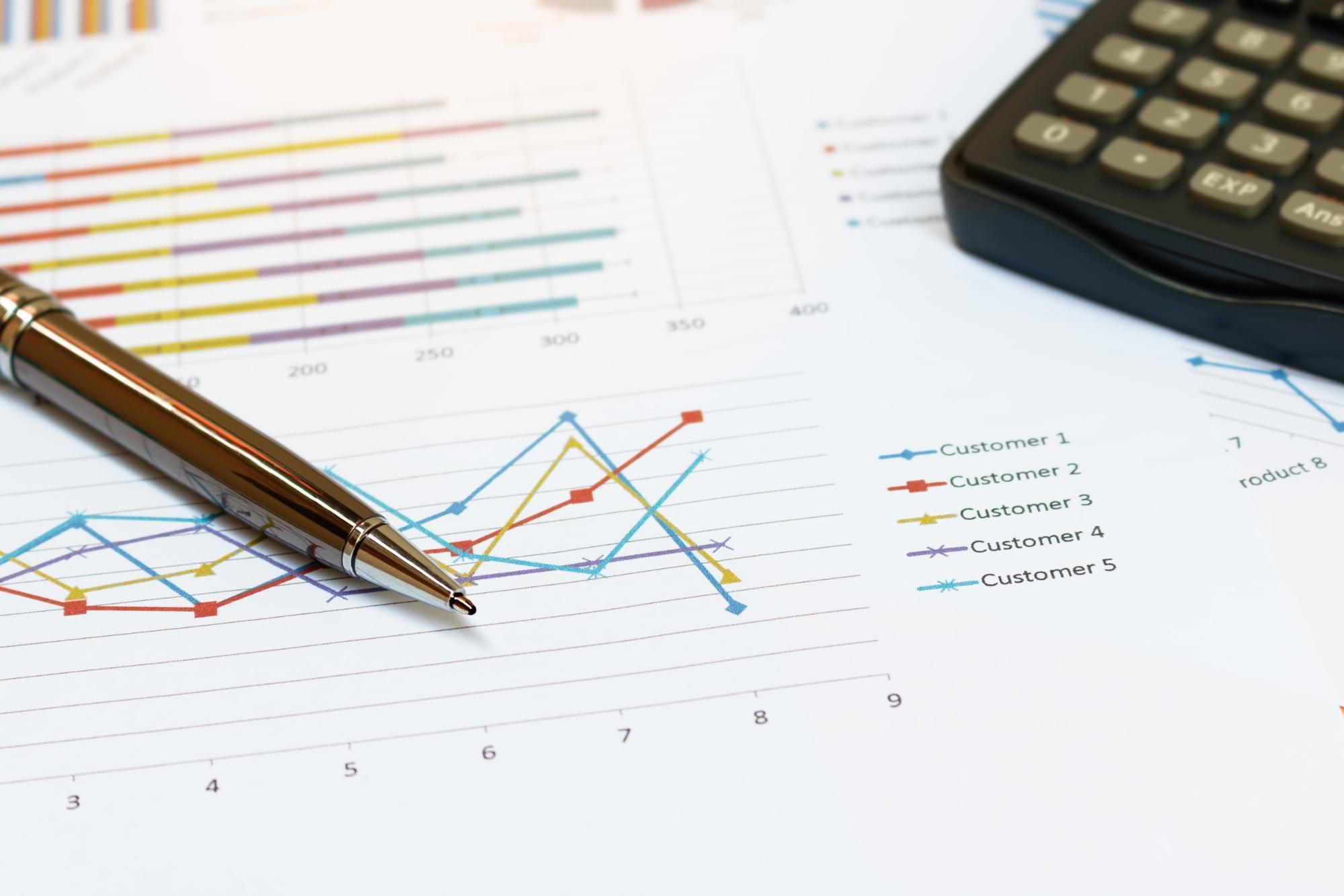 Looking at sales charts.